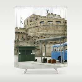Castel Sant Angelo between past and present in color Shower Curtain