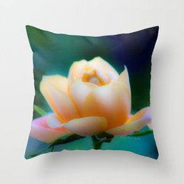 Dreamy Yellow Pinky Rose by CheyAnne Sexton Throw Pillow
