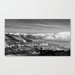 Innsbruck In Winter From Patscherkofel Mountain black white Canvas Print