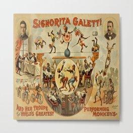 Vintage poster - Performing Monkeys Metal Print