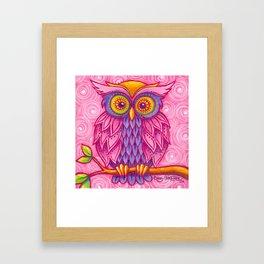 Owl in Pink Framed Art Print