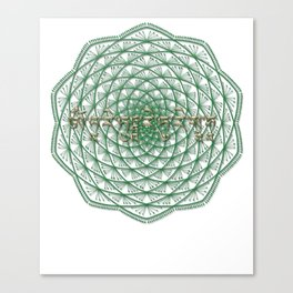 Mandala with Green Tara Mantra Canvas Print