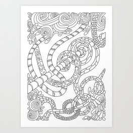 Wandering 46: black & white line art Art Print