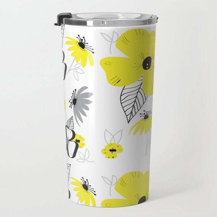 Yellow and Black Drawn Flowers Travel Mug