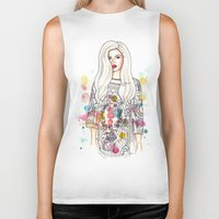 selena gomez Biker Tanks featuring selena illustration by sparklysky