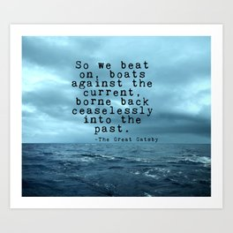 So we beat on - Gatsby quote on the dark ocean Art Print
