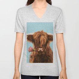 Sweet Highland cattle in blue Unisex V-Neck