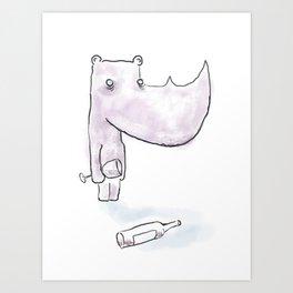 Wino Rhino Art Print