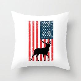 American Deer Hunter, Deer Hunting Gift, Deer Antler, Buck, 12 Pointer Throw Pillow