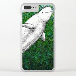 Beautiful beluga whale in the ocean Clear iPhone Case