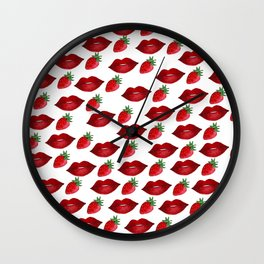 Hand painted red green strawberries lips pattern Wall Clock