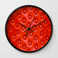 strawberry Wall Clocks featuring Strawberry by Screen Candy