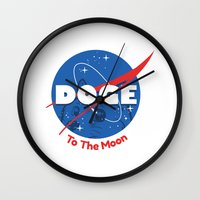 doge Wall Clocks featuring Nasa Doge by Tabner's