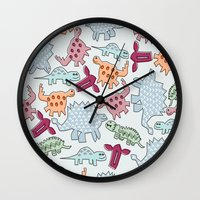 dinosaurs Wall Clocks featuring Dinosaurs  by MadexDesigns