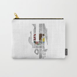 Illinois Typographic Flag Map Art Carry-All Pouch