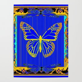 Lapis Blue & Gold Monarch Western Art design Poster