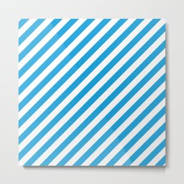 Oktoberfest Bavarian Blue and White Candy Cane Stripes Metal Print