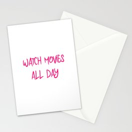 Watch Movies All Day Fun Film School Quote Stationery Cards
