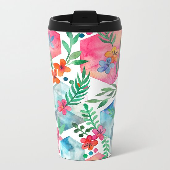 Whimsical Hexagon Garden on white Metal Travel Mug