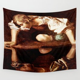 Michelangelo Merisi da Caravaggio, Narcissus at the Source, oil on canvas, 1597-99 Wall Tapestry