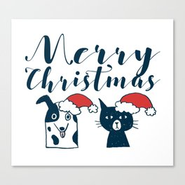 Cute Santa Dog & Cat Illustration Canvas Print