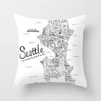 seattle Throw Pillows featuring Seattle Map by Claire Lordon