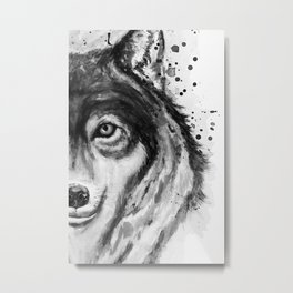 Half-Faced Wolf Close-up Metal Print