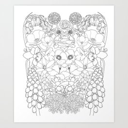 Mirrored Flowers Art Print