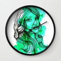 ellie goulding Wall Clocks featuring Ellie by bexchalloner