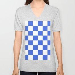 Large Checkered - White and Royal Blue Unisex V-Neck