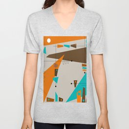Mid-Century Rectangles Abstract Unisex V-Neck