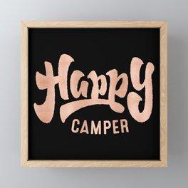 HAPPY CAMPER Rose Gold on Black Framed Mini Art Print