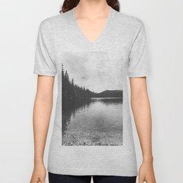 Reflections on black & white lake Unisex V-Neck
