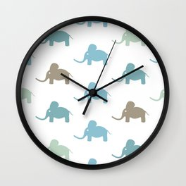 Seamless pattern with funny cartoon elephants Wall Clock