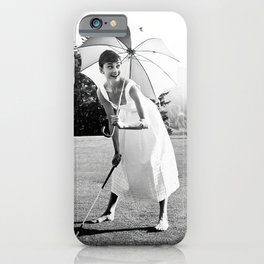 Audrey Hepburn Playing Golf, Black and White Vintage Art iPhone Case