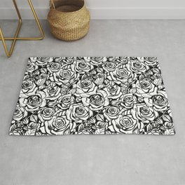 Rose Bush - Black and White Pattern Rug