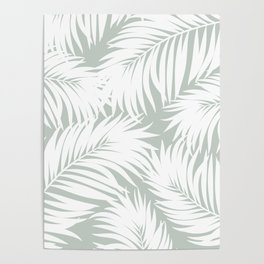 Palm Tree Fronds White on Rainwashed Maui Hawaii Tropical Graphic Design Poster