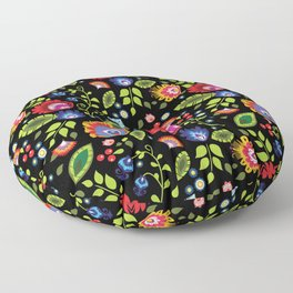 Folklore - multicoloured flowers and leaves Floor Pillow