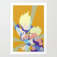 dragonball z Art Prints featuring Dragonball Z - Father-Son KameHameHa by TracingHorses