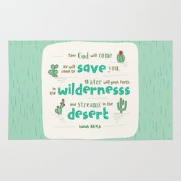 """Streams in the Desert"" Hand-Lettered Bible Verse Rug"