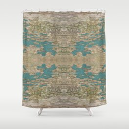 Rustic Wood - Weathered Wooden Plank - Beautiful knotty wood weathered turquoise paint Shower Curtain