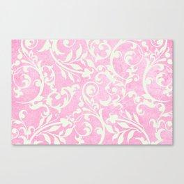 Shabby Chic pink damask Canvas Print