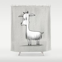 totes Shower Curtains featuring Totes MaGoats by Cassandra Berger