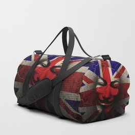 Guy Fawkes Day Union Jack Distressed Flag and Mask Duffle Bag