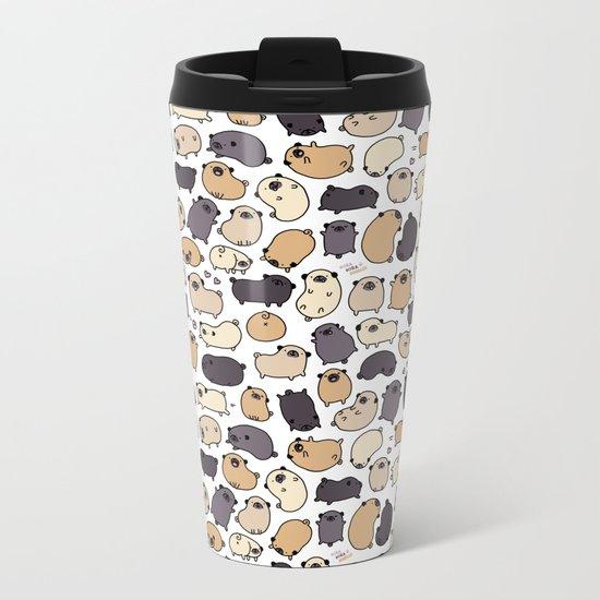 Pug Life Doodle Metal Travel Mug