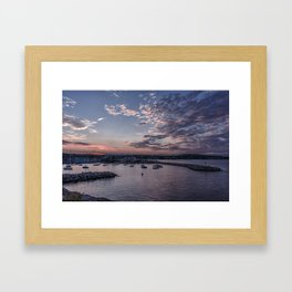 Sunset over Rockport Harbor Framed Art Print