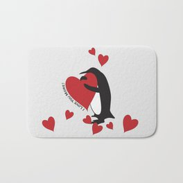 Penguin and Red Hearts - I Love You More! Bath Mat