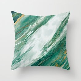Emerald Jade Green Gold Accented Painted Marble Throw Pillow