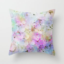 Marble Lights Hydrangea Throw Pillow