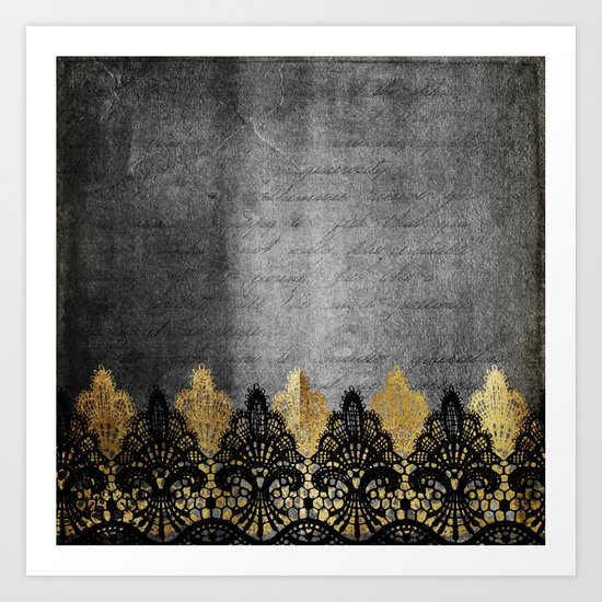 Pure elegance II - Luxury Gold and black lace on grunge dark backround Art Print